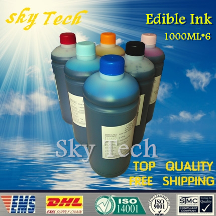 1000ML*6 Edible ink suit for Epson & Canon printer , K C M Y LC LM . Food Ink cake ink . 6 color c m y k lc lm spt printhead ink pressure switch ink controller switch for infiniti 3208 large farmat printer