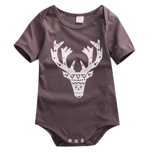 Cute Deer Baby Girl Boy Cotton Clothes Romper Jumpsuit Outfits Clothing  Short Sleeve O Neck Pullover Hot
