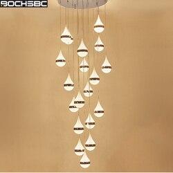 BOCHSBC Water Drop Design kryształowe żyrandole do salonu sypialnia jadalnia pokój/korytarz LED lampa wisząca