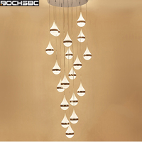 BOCHSBC Water Drop Design Crystal Chandeliers for Living Room Bedroom Dining Room Aisle LED Hanging Lamp Lighting Fixtures