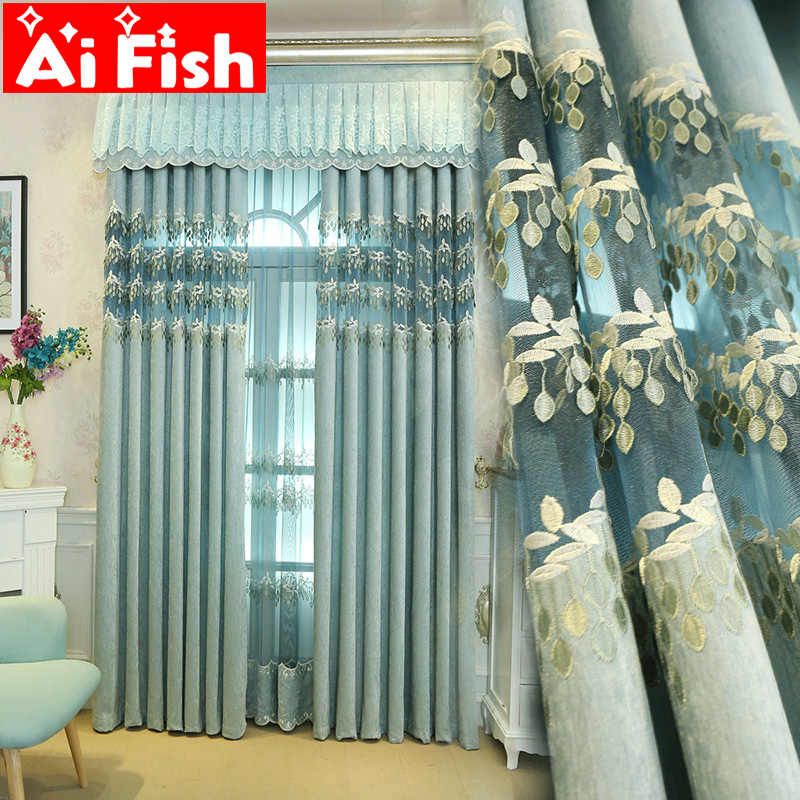 Luxury Chenille Curtains European Blackout Curtains Embroidery Fabric Bedroom Tulle Curtains Drapes for Living Room M005-40