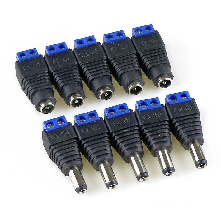 10pcs-5-sets-blue-male-female-12v-21x55mm-dc-power-jack-plug-audio-aux-free-welding-socket-connector