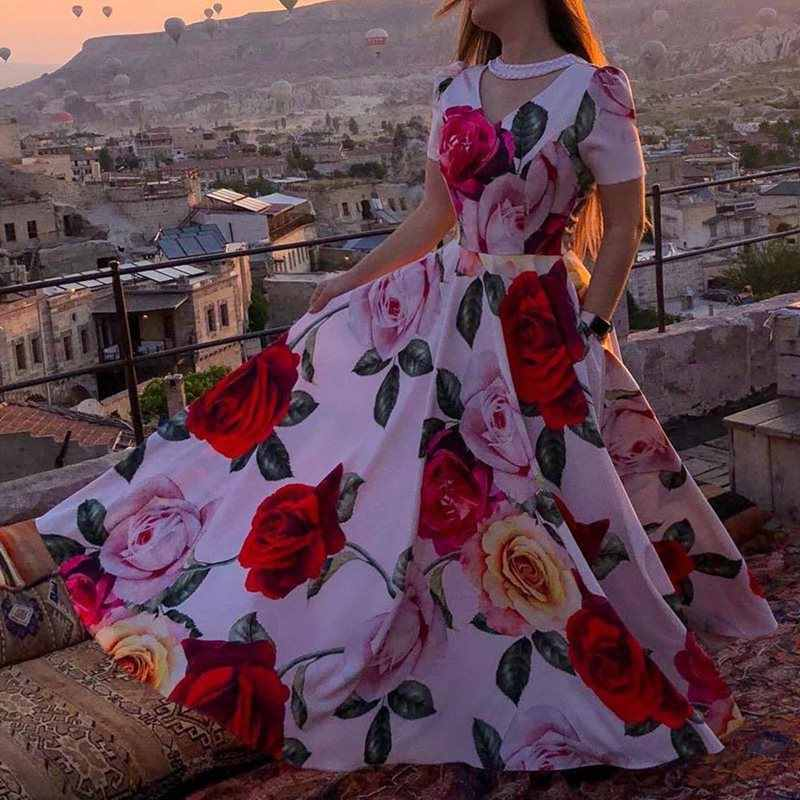 Длинное платье макси с цветочным рисунком, летнее платье в стиле бохо с коротким рукавом, винтажные женские богемные напольные платья, длинное платье с красным цветочным принтом 2019