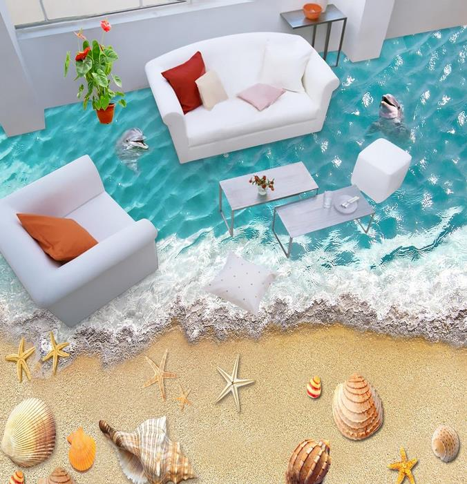 Online buy wholesale beach murals wallpaper from china for Kitchen wallpaper 3d