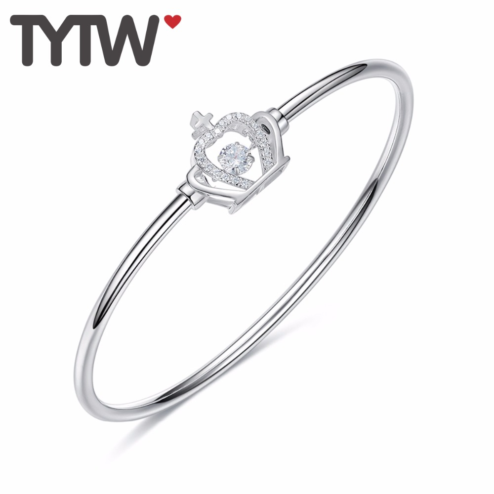 TYTW INS Fashion S925 Sterling Silver High Quality Dancing Stone Zircon Rhinestone Shiny Moving Crowm Bangle Bracelet for women