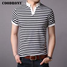 COODRONY Cotton T Shirt Men Srand Collar Short Sleeve T-Shirt Summer Streetwear Casual Mens T-Shirts Tee Homme S95010
