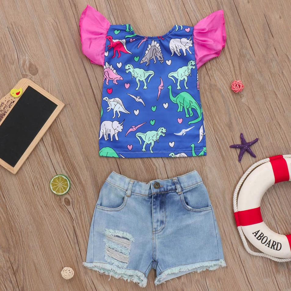 MUQGEW children girl cotton clothes sets 2018 Summer clothing set Dinosaur Cartoon Ruffles Tops T-Shirt s+ Denim Shorts Outfits ...