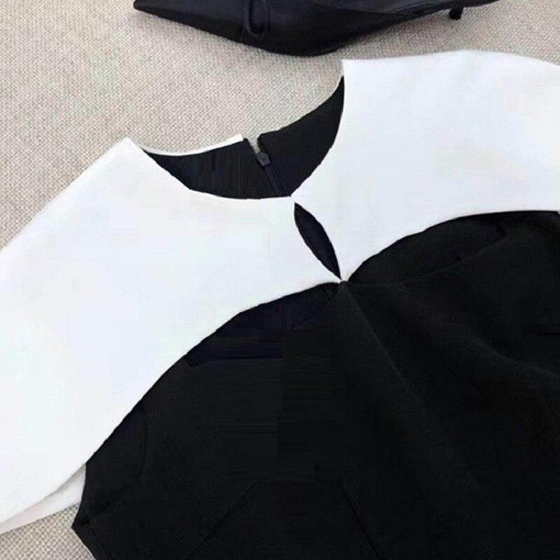 2019 Bianco Clubwear Vestito Modo Di Flare E Della Del Capo Fit Donne Da Partito Blocco Nero Slim Manica Molla Corta Estate Colore Poncho TxFBq8wfg