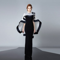 Evening Dress Black With White Cape Modest Appliques Long Customed Abayas Robe De Soiree Celebrity Gowns