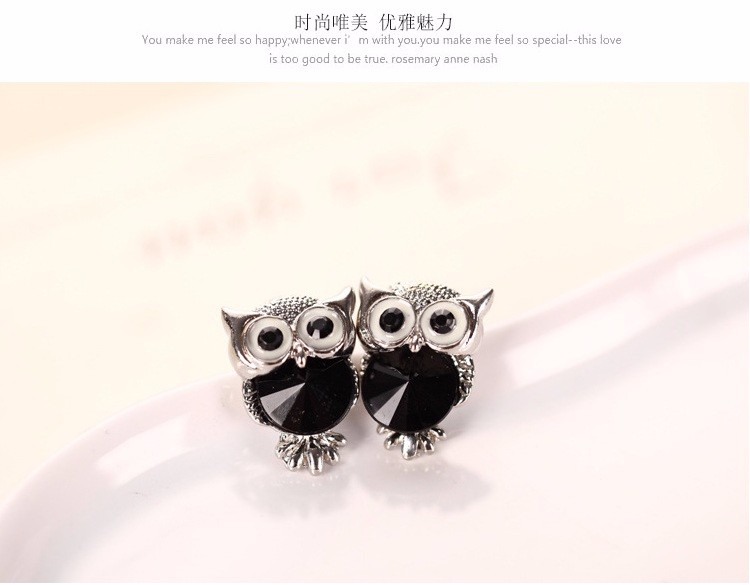 New Design Crystal Women Charms Owl Stud Earrings Five Colors Fashion Jewelry White Gold Plated Cute Trendy For Wedding HFNE09