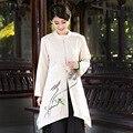 2016 nueva Beige mujeres de moda chaqueta larga de algodón de lino chino de primavera otoño juego de la espiga ropa de tamaño ml XL XXL XXXL 2533