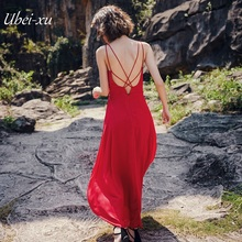 Ubei New Seaside resort style chiffon dress maxi dress long backless new high waist slim sexy halter red spaghetti strap dress 2018 limited real princess s new woman s dress ribbon chiffon bohemia long skirt and seaside resort