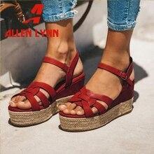 ALLENLYNN New INS Hot Brand Flat Platform Sandals Women 2019 Summer Large Size 35-43 Wedges Shoes Woman