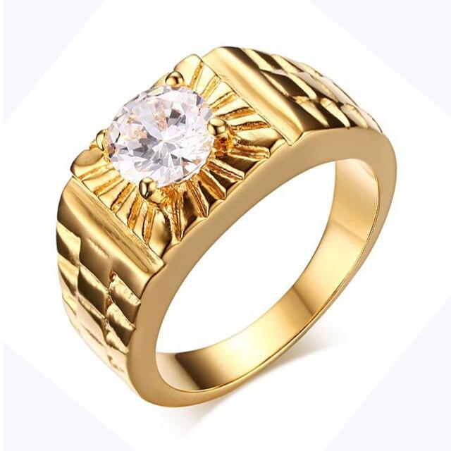 Одежда высшего качества итальянский бренд ювелирных золото Цвет мужской кольцо с aaa cz Любители обещают Обручение кольцо для Для мужчин