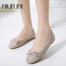 Plus Size 35-41 Women Flat Shoes Ballet Fashion Slip On NIUFUNI Sweet Shallow Pumps Hollow Female Casual