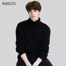 Markless/зимние теплые свитера с высоким воротом для мужчин; sueter hombre; Черная модная повседневная верхняя одежда; вязаные свитера; пуловеры; MSA7722M