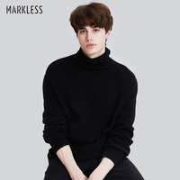 Markless Winter Warm Turtleneck Sweaters Men sueter hombre Black Fashion Casual Outwear Knitted Sweaters Pullovers MSA7722M
