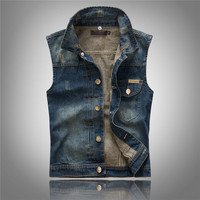 Brand New Men Slim Cwboy Denim Vests M 2Xl Removable Cap Jeans Sleeveless Jeans Jacket Sngle