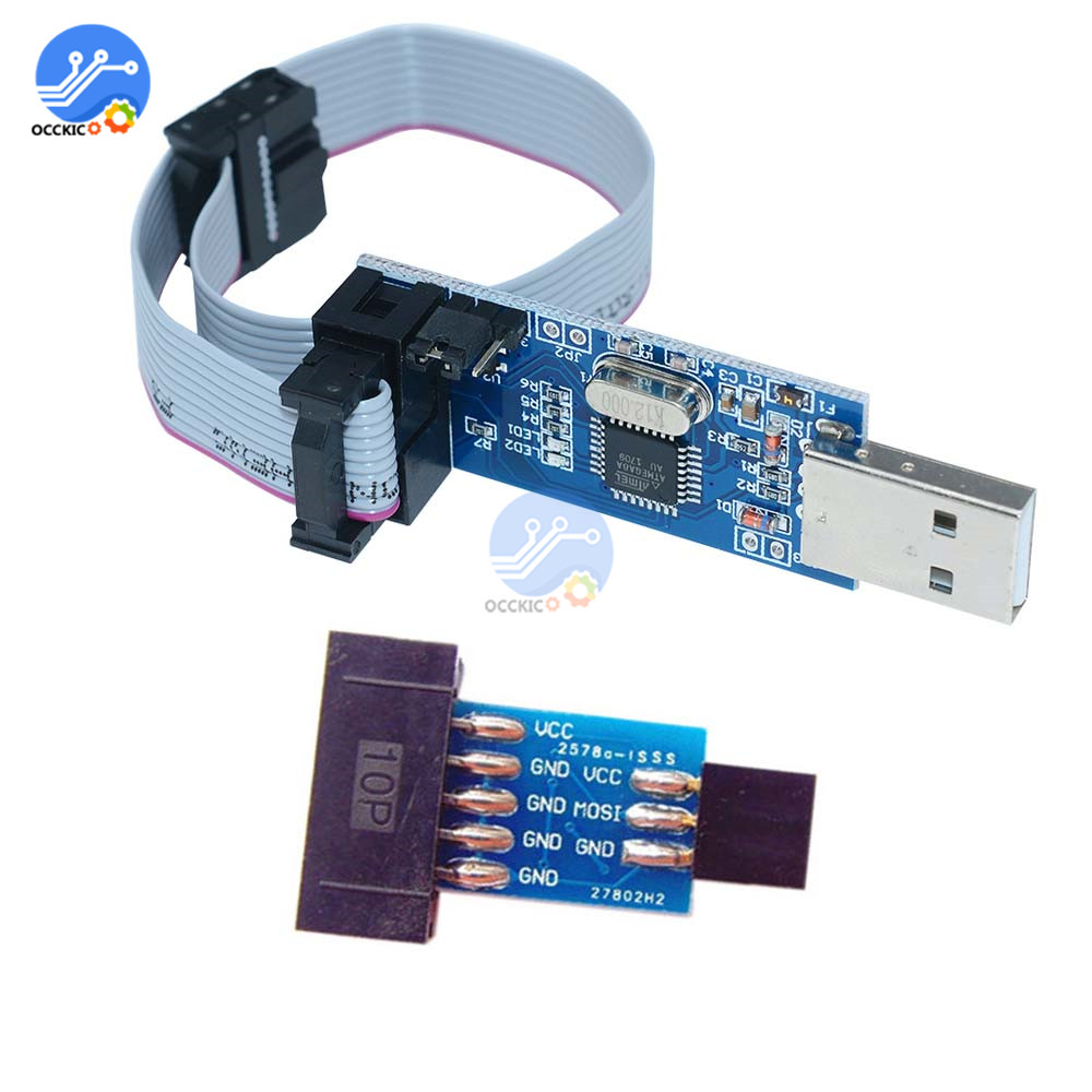 USBASP Download Module+10 Pin To Standard 6 Pin Cable Adapter Board Programmer USB ATMEGA8 ATMEGA128 ATtiny/CAN/PWM For Arduino