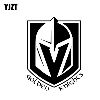 YJZT 9.9*13.2CM Golden Knights Serious Soldier Covering The Body Warrior Car Sticker Black/Silver Vinyl C20-1842 image
