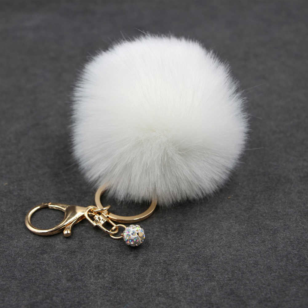 Pele De coelho Bola Pompom Mulheres Telefone Chaveiro Bolsa Charme Pingente Multicolor Chaveiro Lindo Presente para As Mulheres