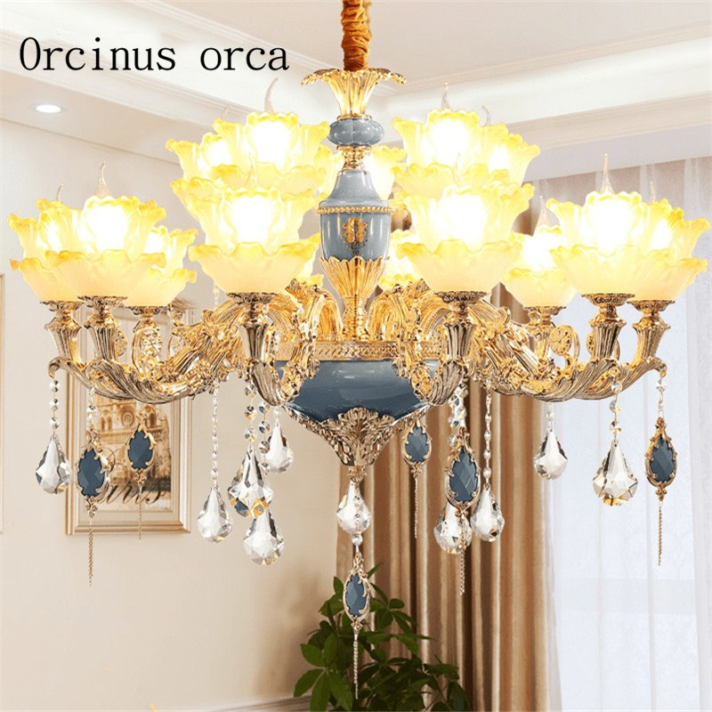 European luxury crystal chandelier villa living room bedroom dining room French garden stone Chandelier free shipping