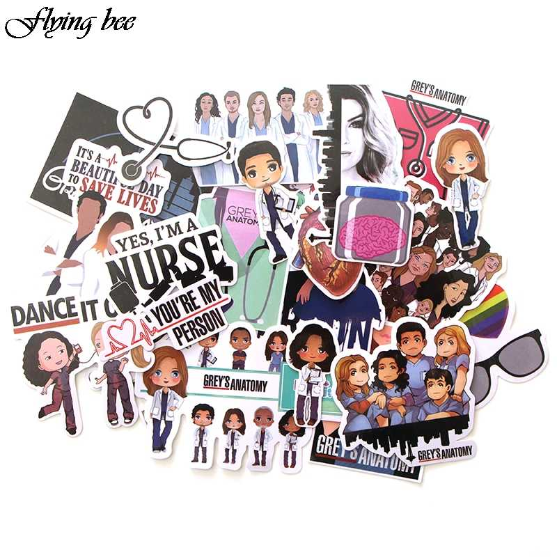 Flyingbee 23 Pcs TV Show Greys Anatomy Waterproof Stickers Kids Toy Sticker for DIY Luggage Laptop Skateboard Car Decor X0048