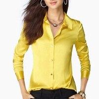 Women's silk shirt formal plus size all match satin silk shirt long sleeve top cs31