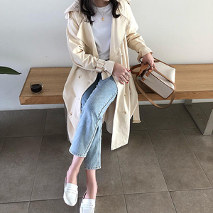 """Image 4 - Womens Belted Double Breasted Cotton long Trench Coats windbreaker   women""""s Winter cloths"""