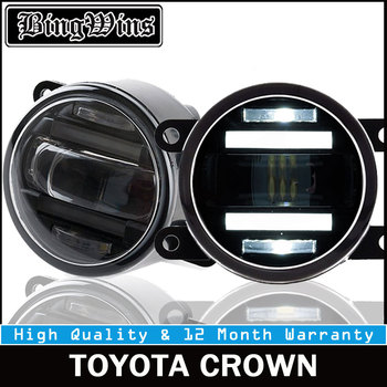 BEINGWINS For TOYOTA CROWN foglights+LED DRL+turnsignal lights Car Styling LED Daytime Running Lights LED fog lamps