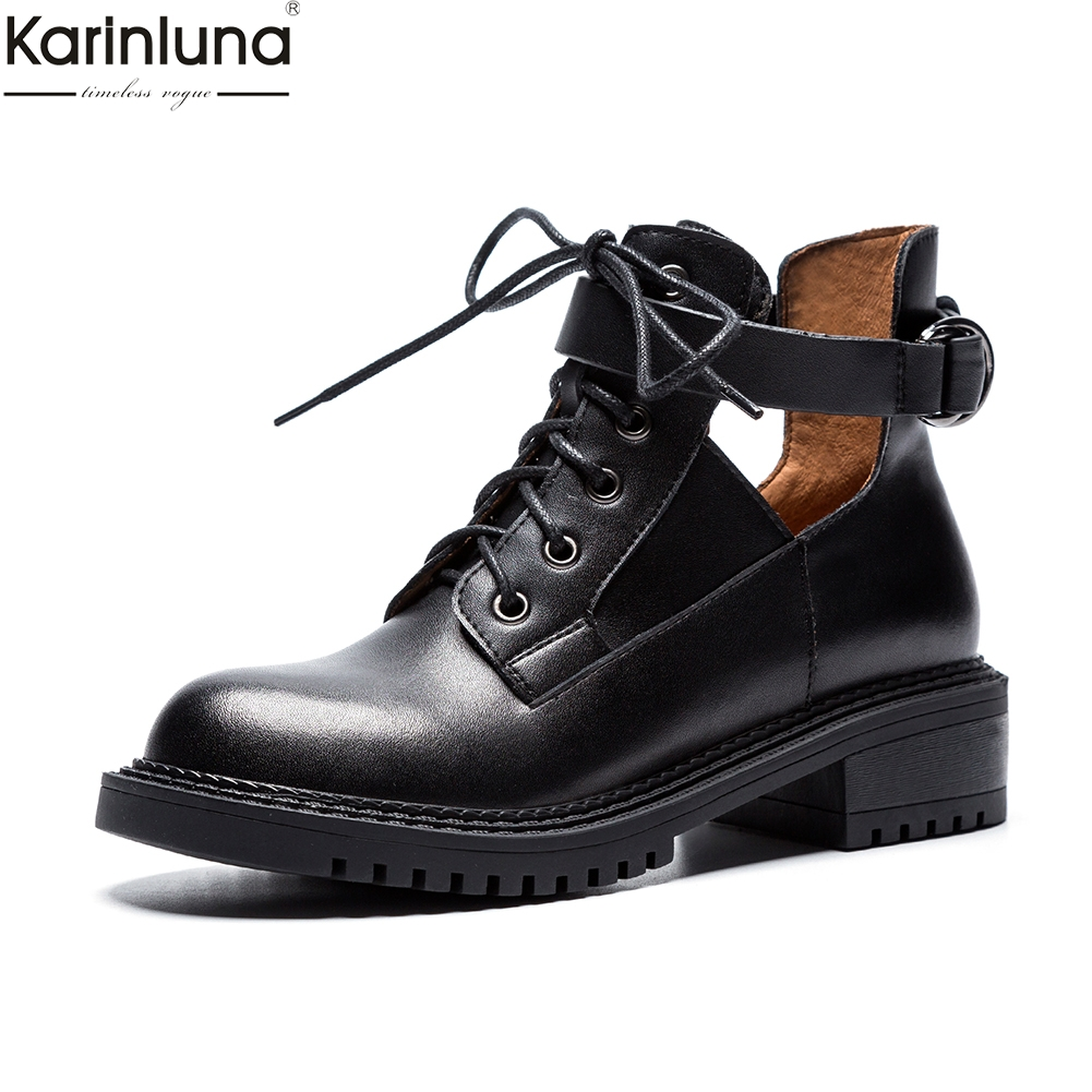 Karinluna brand new dropship genuine leather Boots Women Shoes Woman belt buckle fashion street style Shoes