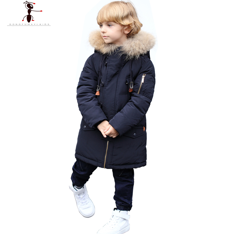 Winter Cool Boys Hood Fur Collar Black Army Red Long Down Coat  Parka Manteau Hiver  Kids  Roupas Infantis AM035