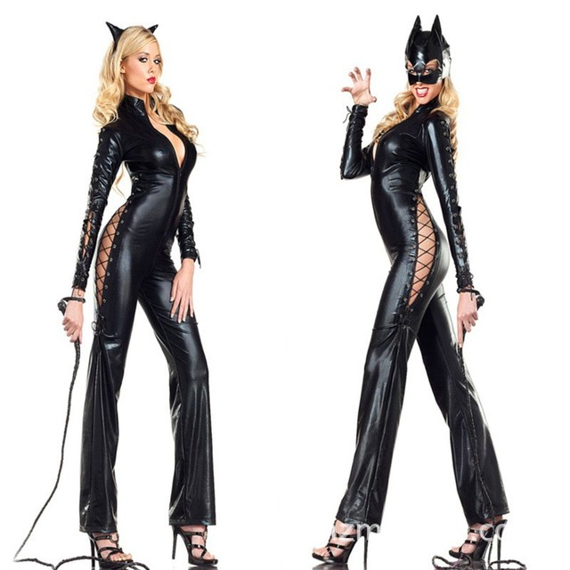 a5cc7e2a00f Sexy Catwoman Catsuit With Headband Or Mask Faux Leather Women Cosplay  Costume Deep V-neck Lace Up Jumpsuit Fancy Dress