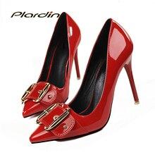 Plardin 2017 Femmes Bout Pointu Pompes Chaussures Femme Mince Talons hauts Chaussures De Mariage Élégant De Mariée de Partie Boucle Sangle femmes pompes