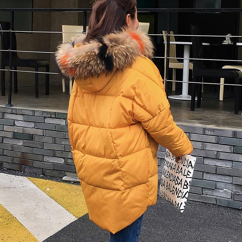 Fourrure Hiver Nouveau Bas La Noir jaune Chaud Grande Moyen blanc caramel Plus Mode Parka long Femme Survêtement Dames Épaississement Le Femmes Vers 2018 Veste Taille Manteau 8fIrq8