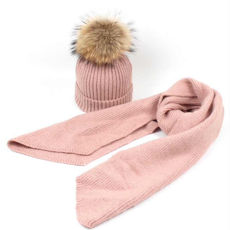 Children Wool Winter Hat Scarf Set Fashion Real Raccoon Fur Pompom Woolen Knitted Cap Scarves Set Kids Boy Girl Fur Pom Pom Hat
