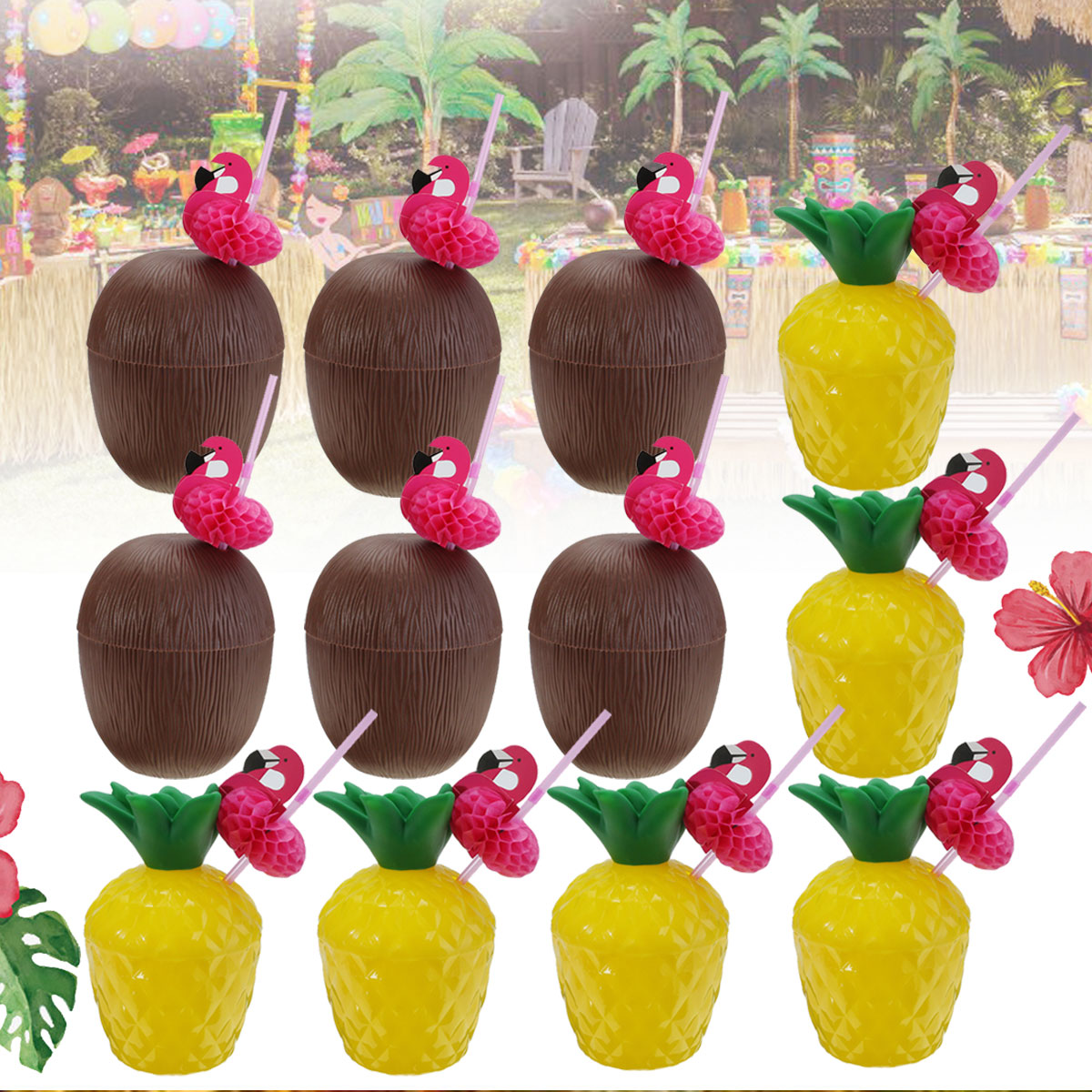 12pcs Water Bottle Decor Plastic Cup Fruit Coconut Pineapple Drink Cup With Bird Decoration Drinking Straw for Party