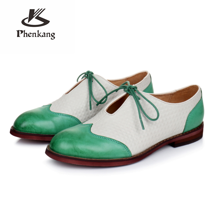 Genuine sheepskin leather brogues designer yinzo lady vintage flats shoes handmade oxford shoes for women green black yellow genuine leather woman size 9 designer yinzo vintage flat shoes round toe handmade black grey oxford shoes for women 2017