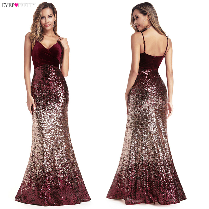 Ever Pretty Burgundy Evening Dresses V-Neck Backless Mermaid Formal Dresses Sequined Long Party Gowns Vestidos Compridos 2019
