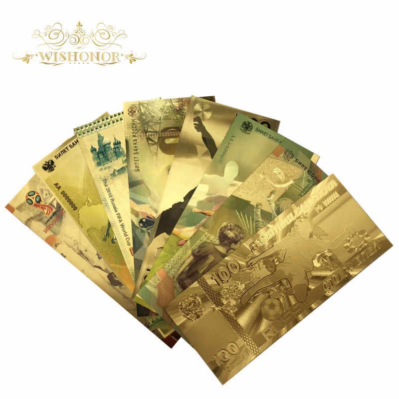 9 шт./компл., хит продаж, цветная Российская банкнота, банкноты Кубка мира 100, банкноты, 24 k, золотые банкноты для коллекции