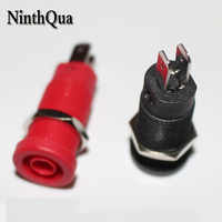 50pcs High Pressure Secure Type 4mm Socket with Switch Brass nickel plated Jack Adaptor Connection for Panel Mount