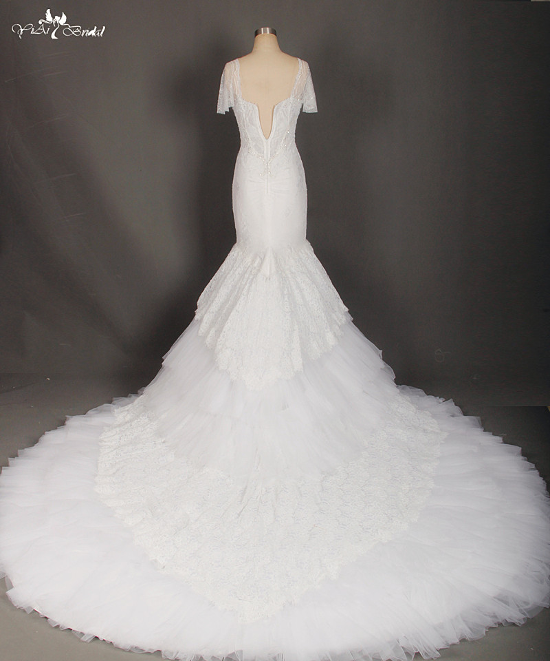 Image 5 - RSW769 Short Sleeve White Lace Cathedral Train Mermaid Wedding Dresses Real Photowedding dress real photoreal photowedding dress real -