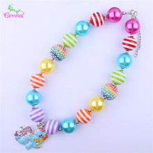2Pcs/Lot Fashion Kids Jewelry Chunky Bubblegum Beads Necklace Rainbow Dash Necklace Horse Pendant Necklace Handmade Bead Jewelry