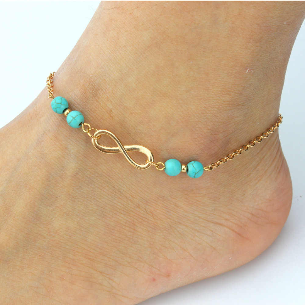 New Ankle Bracelet Summer Style Beads Chain On Foot Anklet Jewelry Bracelet On A Leg