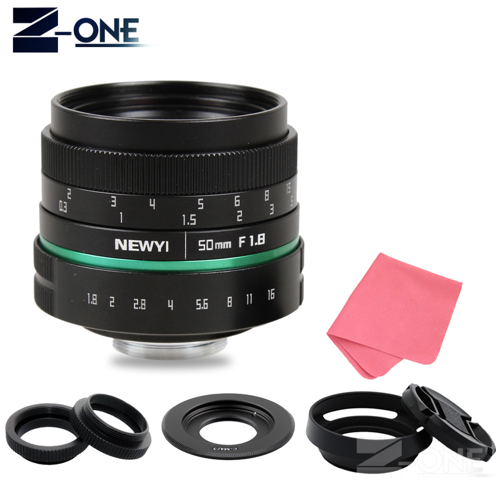 Green Camera lens 50mm f1.8 APS-C Multi-coated Movie Lens+C Mount for Olympus Panasonic Micro 4/3 M4/3 G7 GH3 G85 GX85 GX7 E-M5 50mm f1 4 cctv lens macro rings c m4 3 adapter ring set for olympus panasonic camera silver