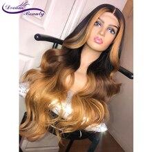 купить Dream Beauty Ombre Black With Honey Blonde Highlights Human Hair 13X6 Lace Frontal Wig Brazilian Remy Wavy  Human Hair Wigs по цене 3286.71 рублей