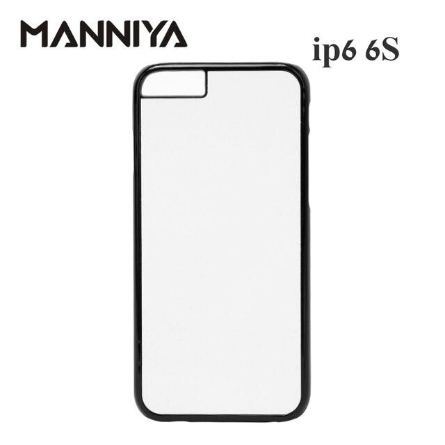 MANNIYA 2D Sublimazione Custodia in Plastica bianco per il iphone 6 6s con Inserti In Alluminio e nastro di Trasporto Libero! 100 pz/lotto