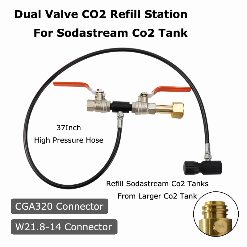 Image 2 - NEW Sodastream Deluxe Dual Valve CO2 Fill Refill Station Charging Adaptor With 37Inch Hose CGA320 & W21.8 14(DIN 477)-in Paintball Accessories from Sports & Entertainment