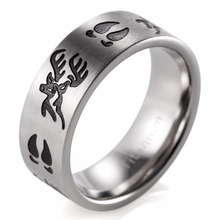 SHARDON Titanium Black Deer Head&Tracks Ring Men jewelry Outdoor wedding band