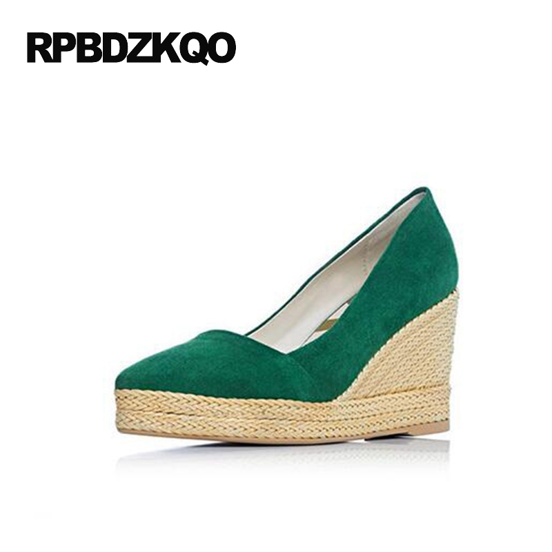 Ladies Orange Casual 4 34 Small Size Pumps Autumn High Heels Pointed Toe 2017 Green Platform Shoes 9cm Inch Wedge Casual Leisure black ladies cool casual pumps wedge korean slip on high heels suede creepers big size 4 34 green platform shoes round toe